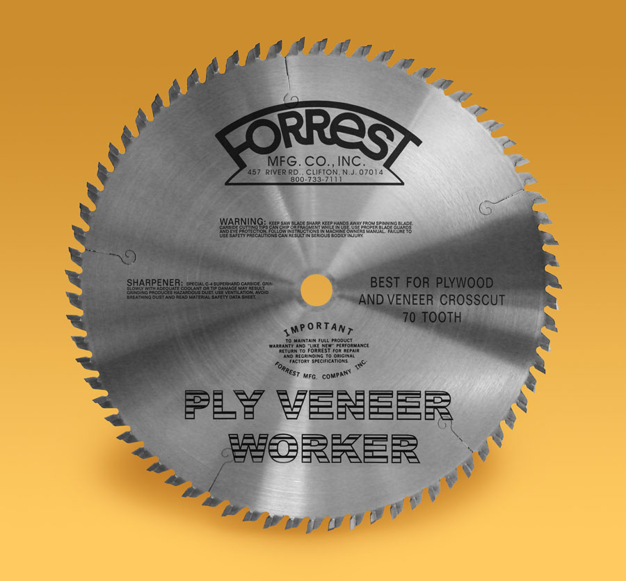 Ply veneer worker blade designed specifically for cutting plywood and plywood veneers.